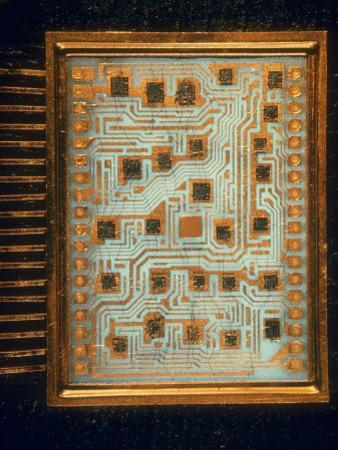 Enlargement of IBM Computer Switching Unit Containing 26 Circuitry Chips