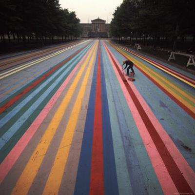 "Gene Davis Putting Finishing ""Franklin's Footpath,"" Painted in Front of Philadelphia Museum of Art"