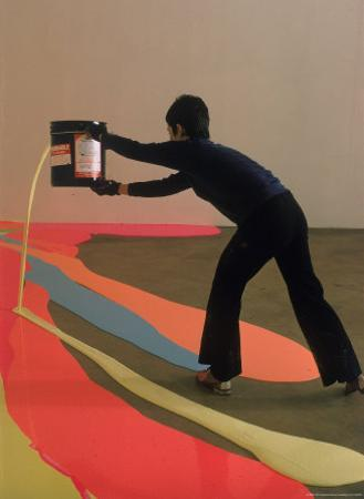 Lynda Benglis Painting a Floor Latex and Pigments at the University of Rhode Island