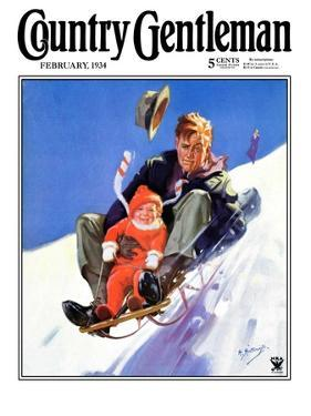 """Father and Child on Sled,"" Country Gentleman Cover, February 1, 1934 by Henry Hintermeister"