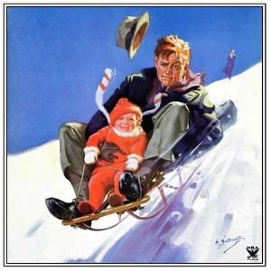 """Father and Child on Sled,""February 1, 1934 by Henry Hintermeister"