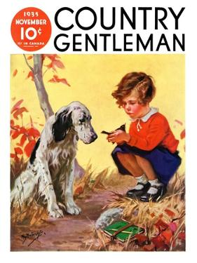 """Girl, Dog and Injured Bird,"" Country Gentleman Cover, November 1, 1935 by Henry Hintermeister"