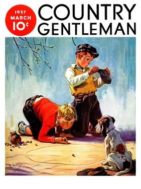 """""""Lost All His Marbles,"""" Country Gentleman Cover, March 1, 1937 by Henry Hintermeister"""