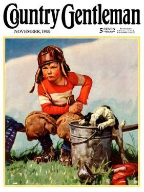 """Water Boy and Dog,"" Country Gentleman Cover, November 1, 1933 by Henry Hintermeister"