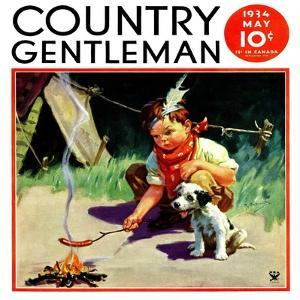 """Weiner Roast,"" Country Gentleman Cover, May 1, 1934 by Henry Hintermeister"