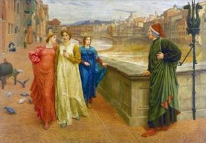 Dante and Beatrice in Florence by Henry Holiday by Henry Holiday