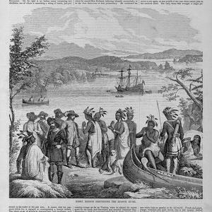 Henry Hudson Descending the Hudson River Illustration