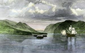 Henry Hudson's Ship, Half Moon, Meets Native Americans in the Hudson River Highlands, c.1609
