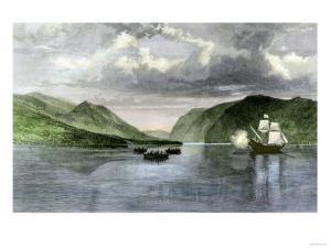 Henry Hudson's Ship, Half Moon, Meets Native Americans in the Hudson River Highlands, c.1609