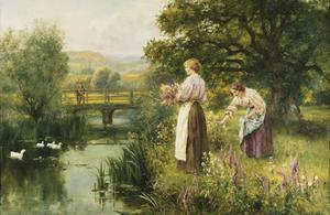 Gathering Spring Flowers by Henry John Yeend King