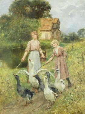 Girls Herding Geese by Henry John Yeend King