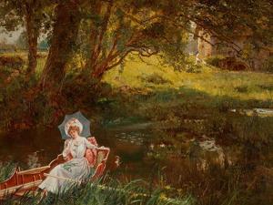 Lady in a Punt by Henry John Yeend King