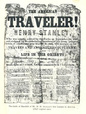 Henry M.Stanley, Handbill from Lecture Tour in America