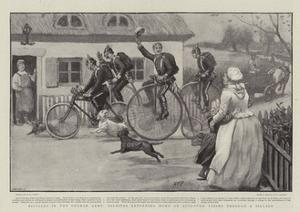Bicycles in the German Army, Soldiers Returning Home on Furlough Riding Through a Village by Henry Marriott Paget