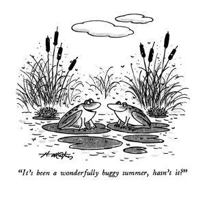 """""""It's been a wonderfully buggy summer, hasn't it?"""" - New Yorker Cartoon by Henry Martin"""
