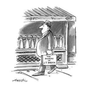 "Picture of man walking down the street; his briefcase reads,""The Papers of…"" - New Yorker Cartoon by Henry Martin"