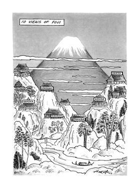 Views of Fuji.Title.Large drawing of Mt. Fuji with 10 factories nearby on … - New Yorker Cartoon by Henry Martin