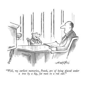 """Well, my earliest memories, Frank, are of being placed under a tree by a …"" - New Yorker Cartoon by Henry Martin"