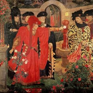 Choosing the Red and White Roses in the Temple Garden, 1910 by Henry Payne