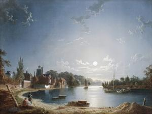 A Full Moon on the River at Brentford by Henry Pether
