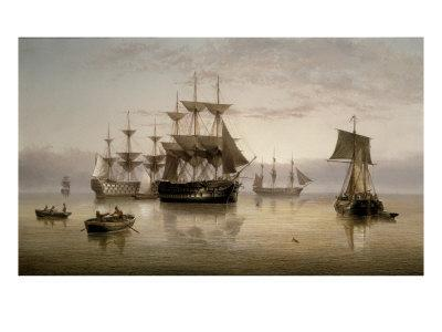 Men-of-War and other Shipping Anchored in a Calm, 1885
