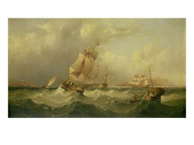 Sailing Ships Off the Coast at Tynemouth