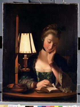 Woman Reading by a Paper-Bell Shade, 1766 by Henry Robert Morland