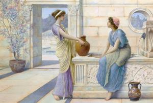 Two Women of Ancient Greece Filling their Water Jugs at a Fountain (Women of Corinth) by Henry Ryland