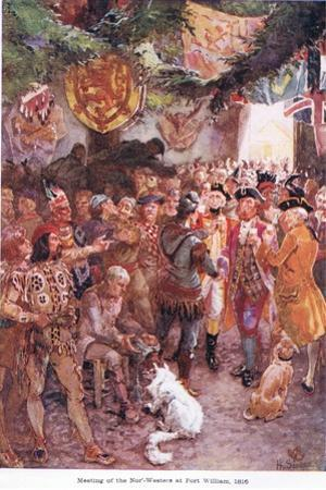 Meeting of the Norwesters at Fort William 1816, C.1920
