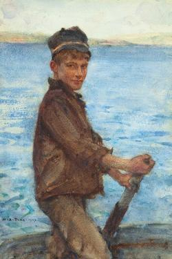 Steering the Punt, 1909 by Henry Scott Tuke