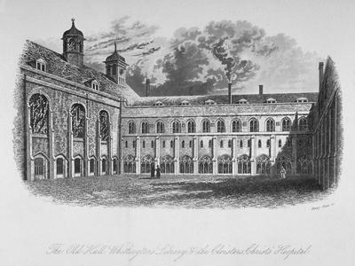 The Old Hall, Whittington's Library and the Cloisters, Christ's Hospital, City of London, 1825