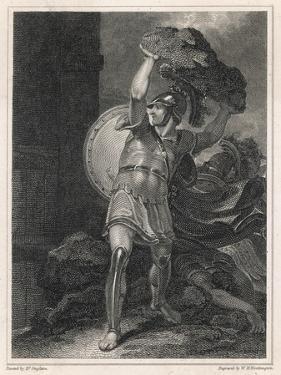 Hector Trojan Hero Heaves a Huge Boulder at the Greek Camp by Henry Singleton