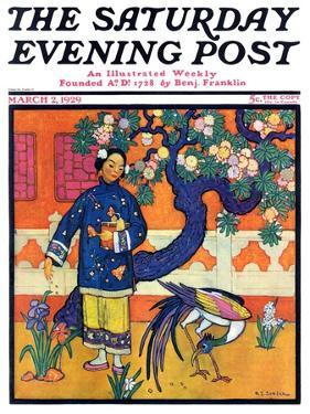 """Japanese Woman in Garden,"" Saturday Evening Post Cover, March 2, 1929 by Henry Soulen"