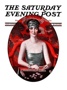 """Majong,"" Saturday Evening Post Cover, January 5, 1924 by Henry Soulen"
