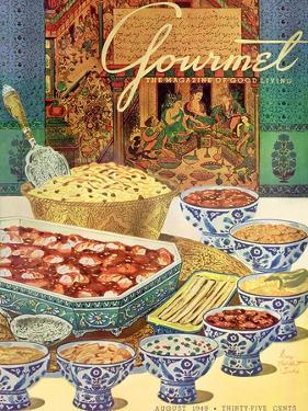 Gourmet Cover - August 1949 by Henry Stahlhut
