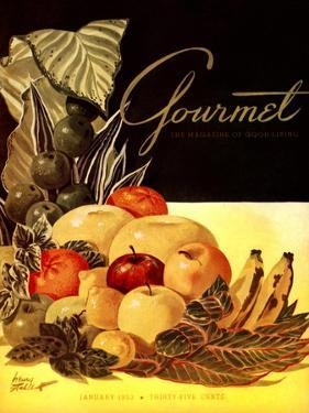 Gourmet Cover - January 1952 by Henry Stahlhut