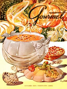 Gourmet Cover - October 1948 by Henry Stahlhut