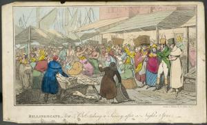 "Billingsgate ""Tom and Bob"" at Billingsgate Market Taking in the Sights by Henry Thomas Alken"