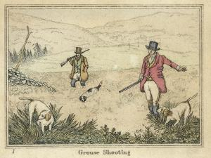Grouse, Two Men and Their Dogs Walk up a Moor Hoping to Start up Some Grouse by Henry Thomas Alken