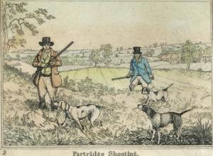 Partridge, Two Men and Their Dogs Looking for Partridge in an Open Field by Henry Thomas Alken