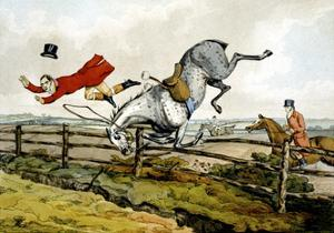 Taking a Tumble, from 'Qualified Horses and Unqualified Riders', 1815 by Henry Thomas Alken