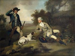 A Gentleman Reclining with a Gun and Dog and his Gamekeeper Standing Nearby by Henry Walton