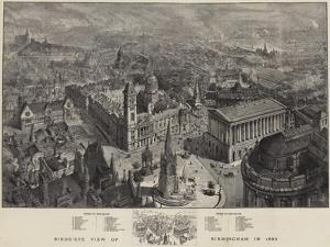 Birds-Eye View of Birmingham in 1886 by Henry William Brewer