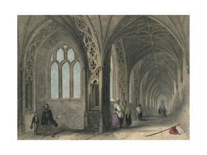 Worcester Cathedral. The Cloisters, 1836 by Henry Winkles