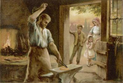 The Village Blacksmith in His Smithy by Herbert Dicksee