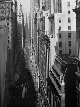 Aerial View of Wall Street Showing Trinity Church Standing at Head of Street by Herbert Gehr