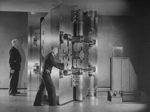 Guards Closing Bank Vault Door at Irving Trust Company by Herbert Gehr