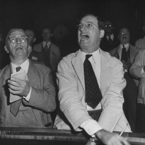 Perry E. Moore and Leslie J. Healey Shouting on Floor of Stock Exchange by Herbert Gehr