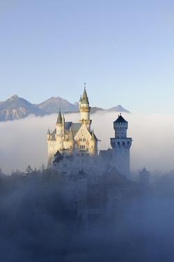 Germany, Bavaria, AllgŠu, Neuschwanstein Castle, Fog by Herbert Kehrer