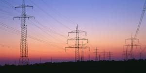 High-Voltage Poles, Transmission Line, Evening Mood by Herbert Kehrer